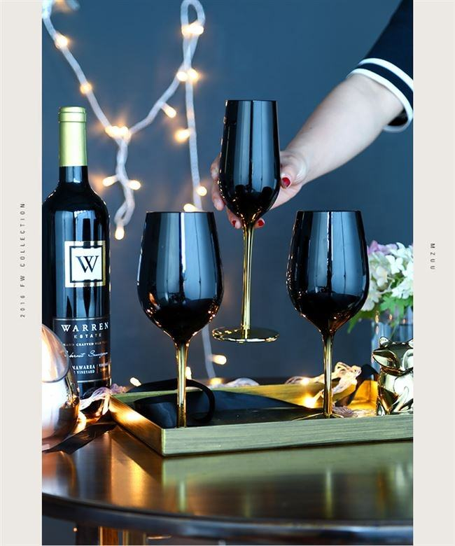 Beautiful Wedding Lead Free Electroplated black gold colored wine glasses