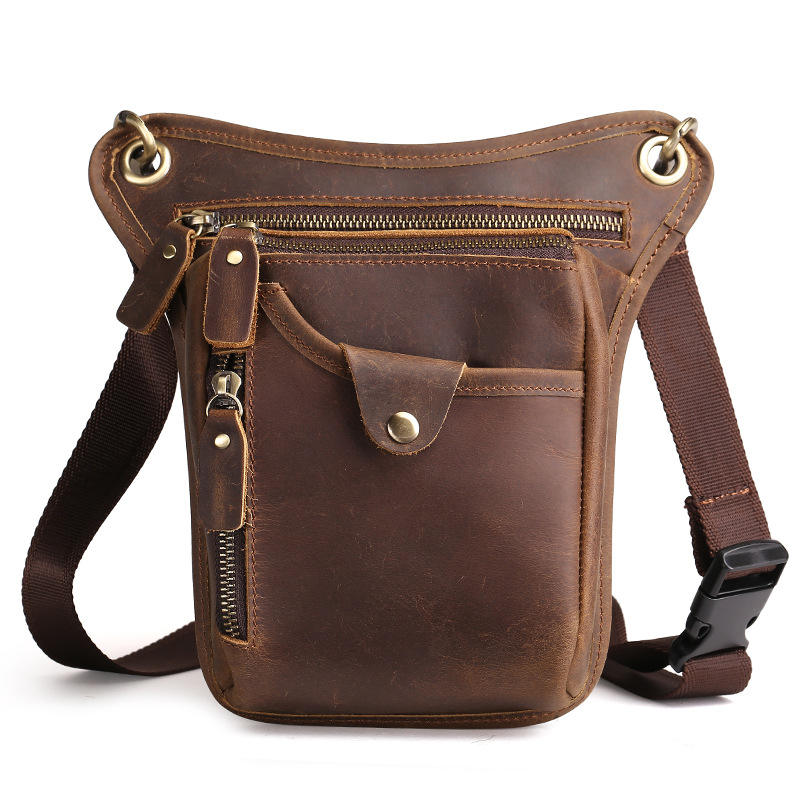 thigh fanny pack waist pouch genuine leather drop motorcycle leg bag for men