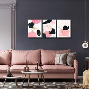 Decorative Abstract Wall Art Poster 3 Panels Canvas Painting Artwork Handmade Painting Printing On Canvas Framed For Hotel Decor