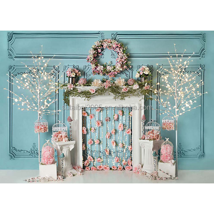 Blue Wall Flower Decorated Fireplace Kids Girl Portrait Camera Shoot Background Photography Backdrops For Photo Studio