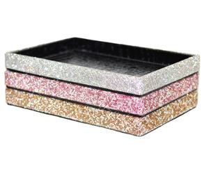 European tray for table rhinestone decoration storage box bathroom makeup tray jewelry bling table storage tray organizer