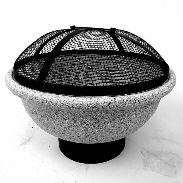 Outdoor stone round wood burning fire pit for BBQ