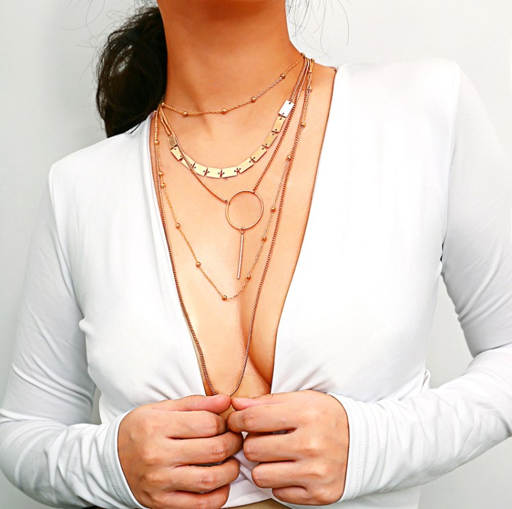 geometric sequin square coin five layered necklace circle bar pendant ball sexy chain gold long necklace for sweater