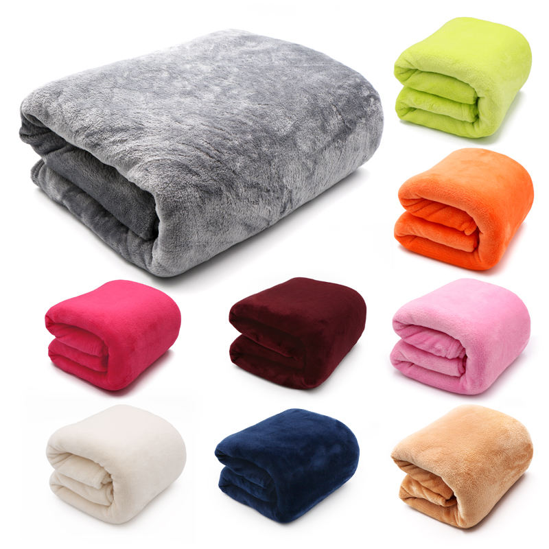 Light Thin Mechanical Wash flannel Blanket Plaids super warm soft blankets throw on Sofa/Bed/ Travel solid Bedspread