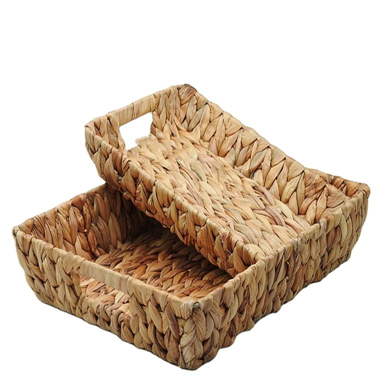 Pure Rattan weaving storage basket with rattan handles