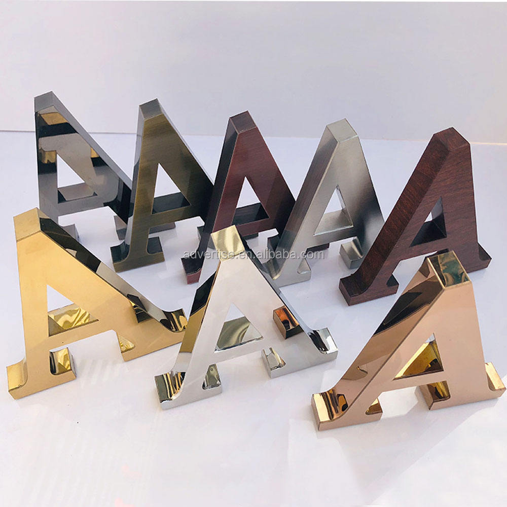 Manufacturer customized wholesales gold metal letters customization decorative 3D stencil metal/alphabet led metal letters