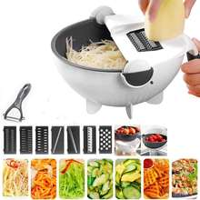 Multifunction  rotate vegetable cutter with drain basket large capacity vegetables shredder grater portable slicer with 8 blades