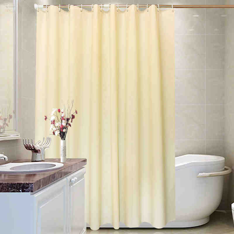 Bathroom Custom Waterproof Printed Polyester Elegant Solid Yellow Shower Curtain Belt Hook