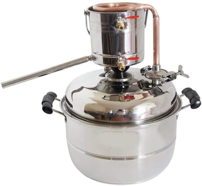 New DIY 10L Alcohol Distiller Home Brewing Kit Stainless&Copper Cooling Home Wine Making Moonshine Still Water Distillation Brew