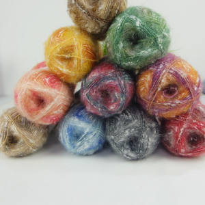 High quality big loop acrylic fancy knitting yarn mohair silk blended yarn