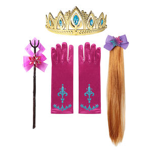 2020 New Accessory 2 Princess Aisha Necklace Bracelet Earrings For Children Wig Ice Snowflake Stick With Jewelry Accessory Set