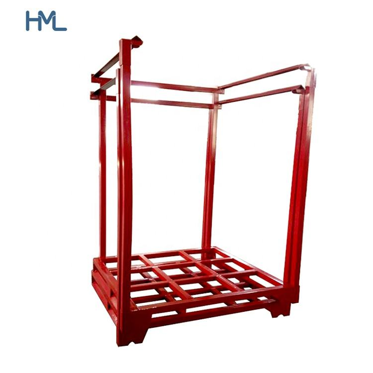 Industrial warehouse heavy duty logistics folding storage metal steel pipe nestainer stacking rack
