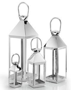 Home Decor Accessories Wedding Stainless Steel and Glass Silver Candle Lantern Sets