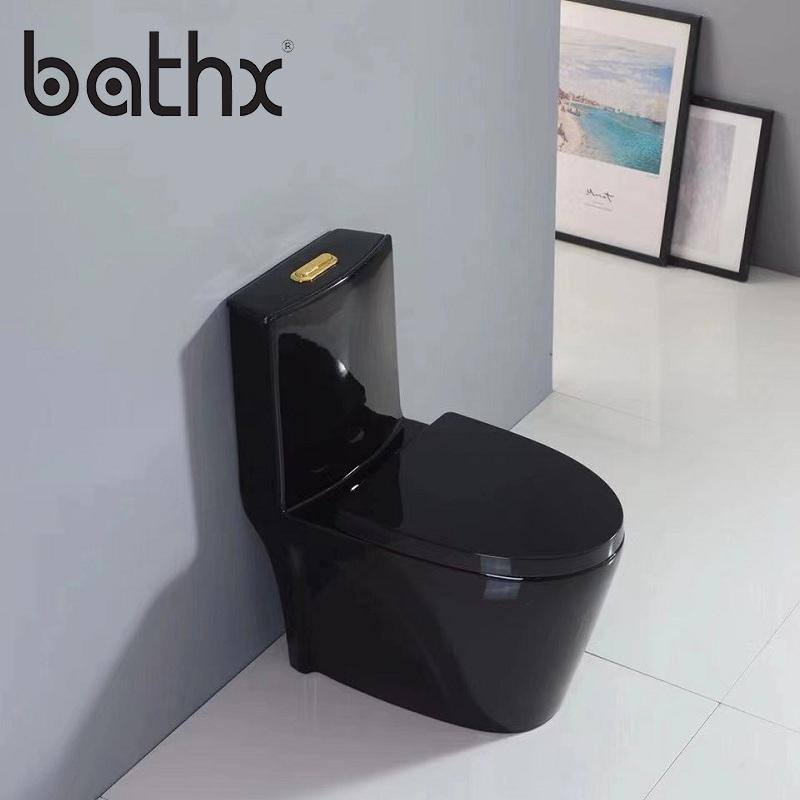 Popular Style Sanitary Ware Ceramic Bathroom Closestool Dual Flush Black Siphonic One Piece Toilet