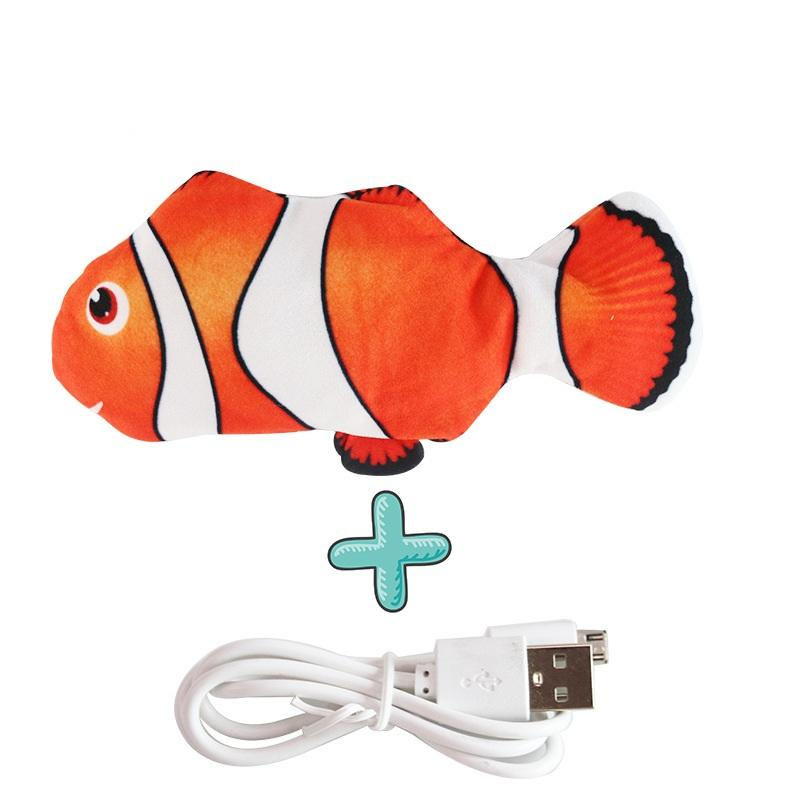Electric Plush Auto-moving Cat Fish Toy Robot Clownfish with Catnip