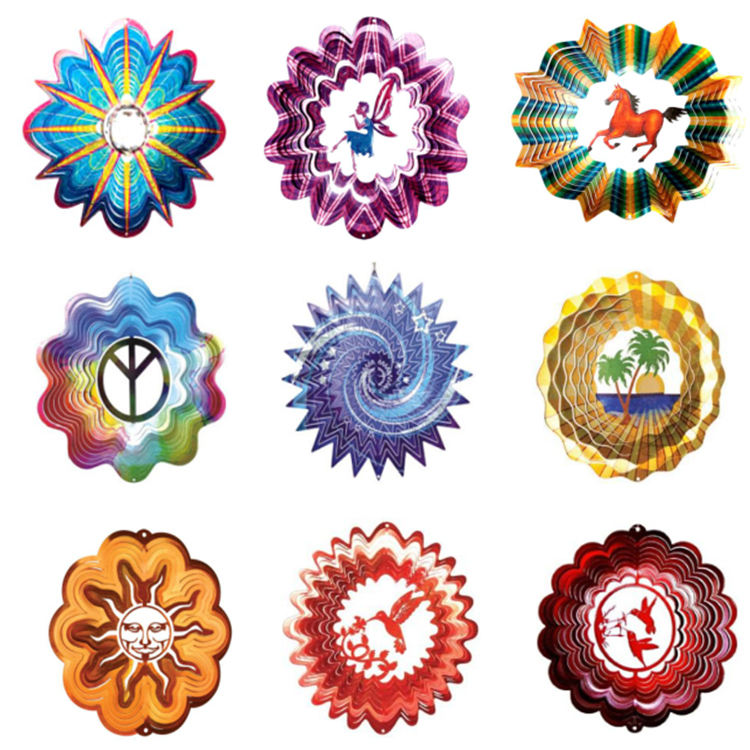 Multi-colored garden decoration wind spinner laser cut wind spinners hanging wind spinner