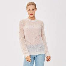 Guoou Knitwear Hot Sell Ladies Mohair Pullover Woman Two Piece Sweater Set