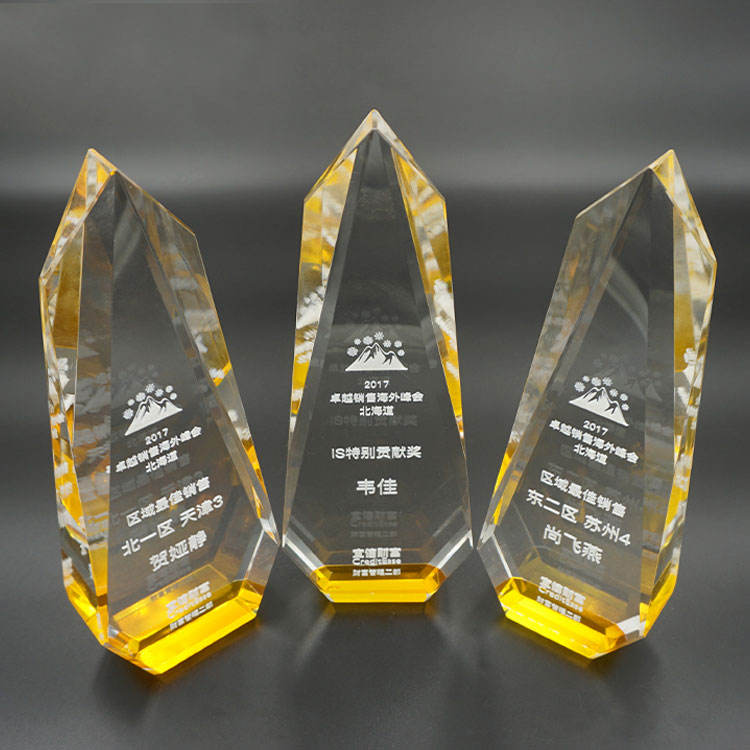 Wholesale Cheap Custom Crystal Glass Trophy Award With Engraved Logo