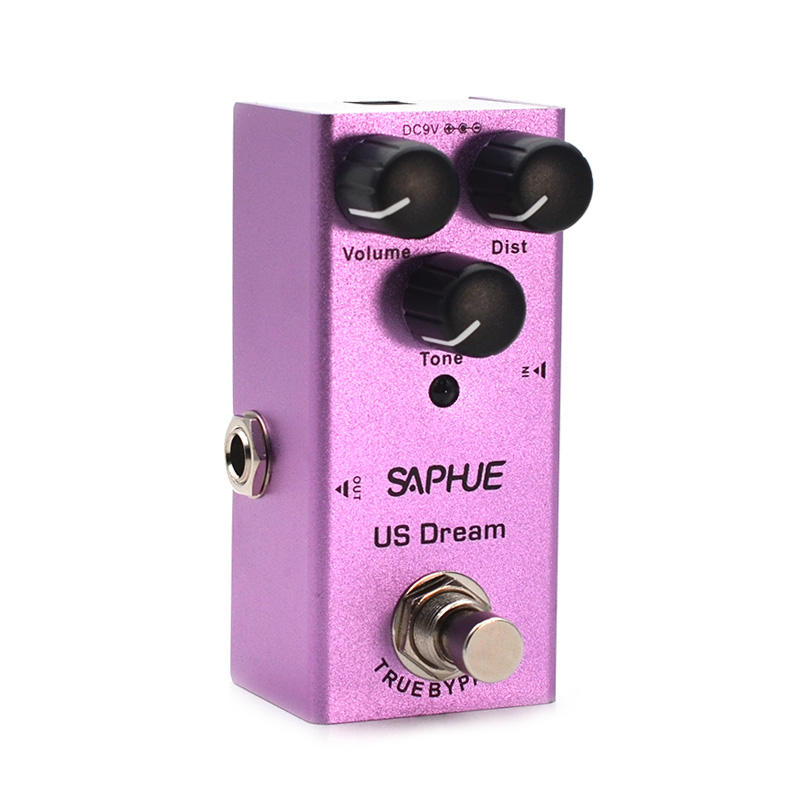 SAPHUE Electric Guitar US Dream Distortion Pedal Volume/Dist/Tone Knob Effect Pedal Mini Single Type DC 9V True Bypass