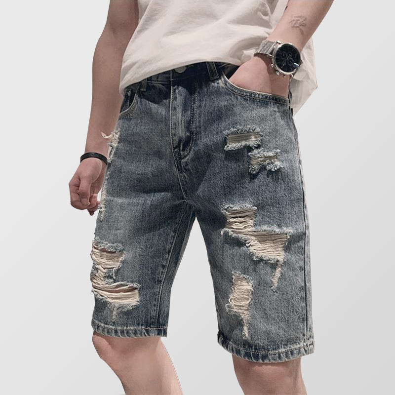 Men's summer shorts jeans Individuality fashion ripped jeans Korean style easy matching cool Pants