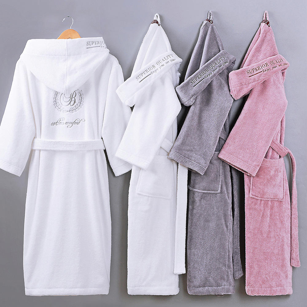 Factory Customization Winter Warm Robe Men Hotel Home Thick Hooded 100% Cotton Terry Towel Long Bathrobe