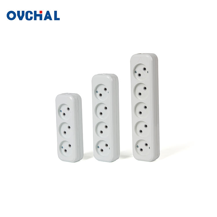 OUCHI European Standard 2 Pin Electrical Multiple Extension Flat Outlet Socket