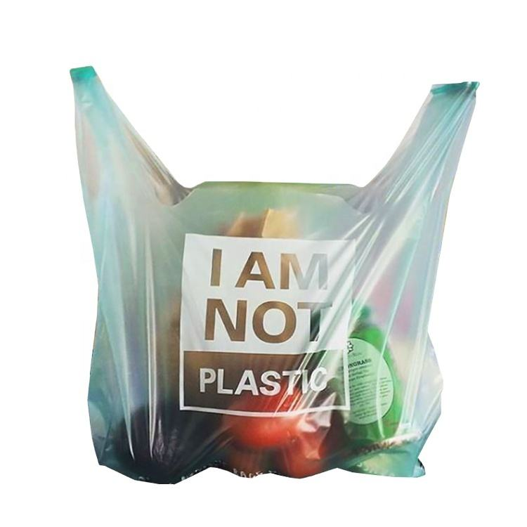 EGP bio degradable 100 biodegradable t shirt shopping bag corn starch trash bag PLA transparent