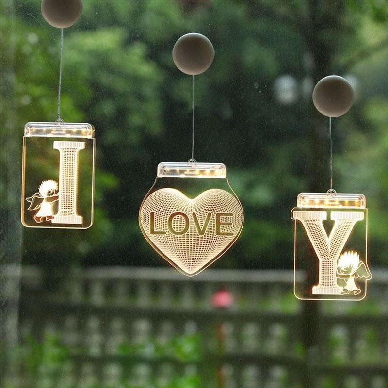 A-Z Letter 3D LED Night Lights Hanging Battery Powered Illusion Lamp for Birthday Party Wedding Holiday Christmas Decoration Gif