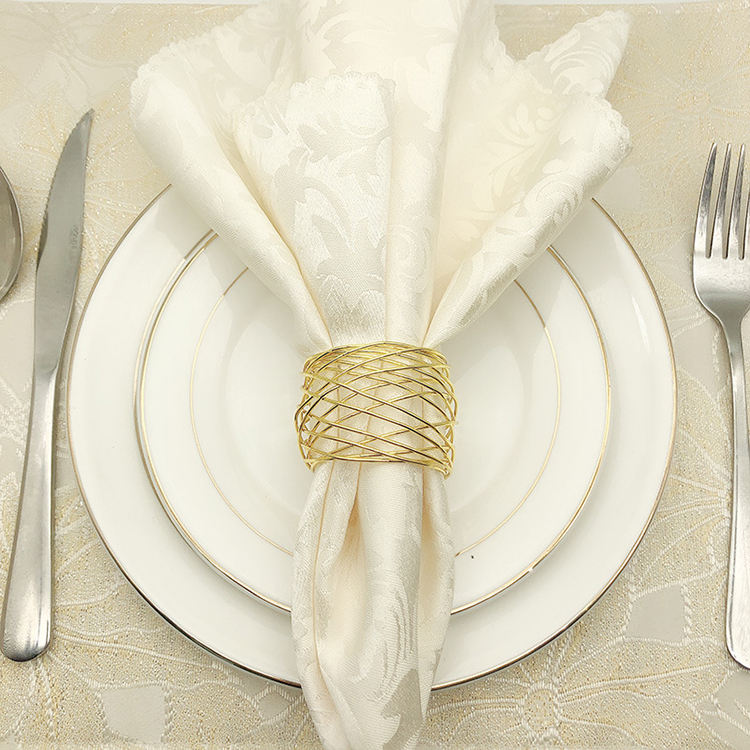 Latest design gold pearl napkin ring golden wire mesh napkin ring for wedding