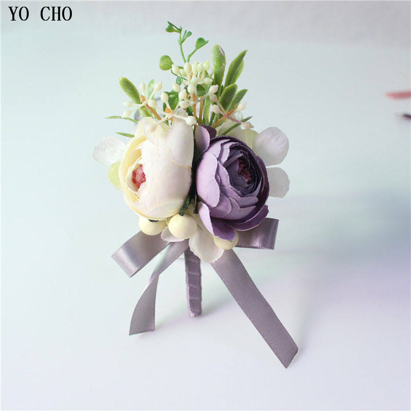 YO CHO 100% Handmade Rose Flower Corsage Party Accessories Man Suit Boutonniere Artificial Silk Flower Wedding Corsage