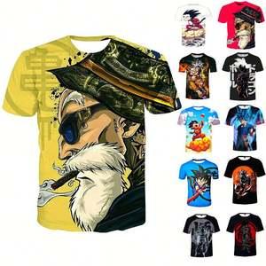 Japanese Tee Goku T-shirt Anime 3D Printed Cartoon Fashion Mens Womens Boys Goku Vegeta Polyester 3D T-shirts