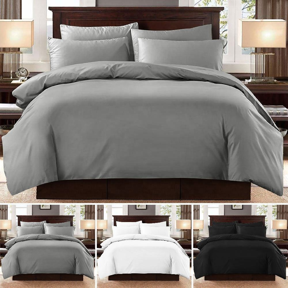 Luxury USA Bedding Item Plain 100% Egyptian Cotton 1000 TC Bed Sheet Set Duvet Cover Set