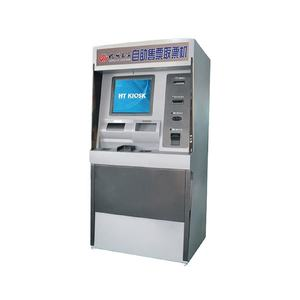 Self service ticket buying and collecting kiosk machine with cash and bank card reader for bus station subway airport