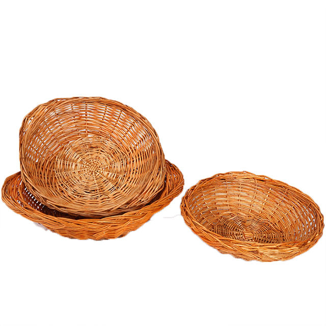 Selling willow basket with ears wicker basket wholesale anti-scalding bread basket linyi