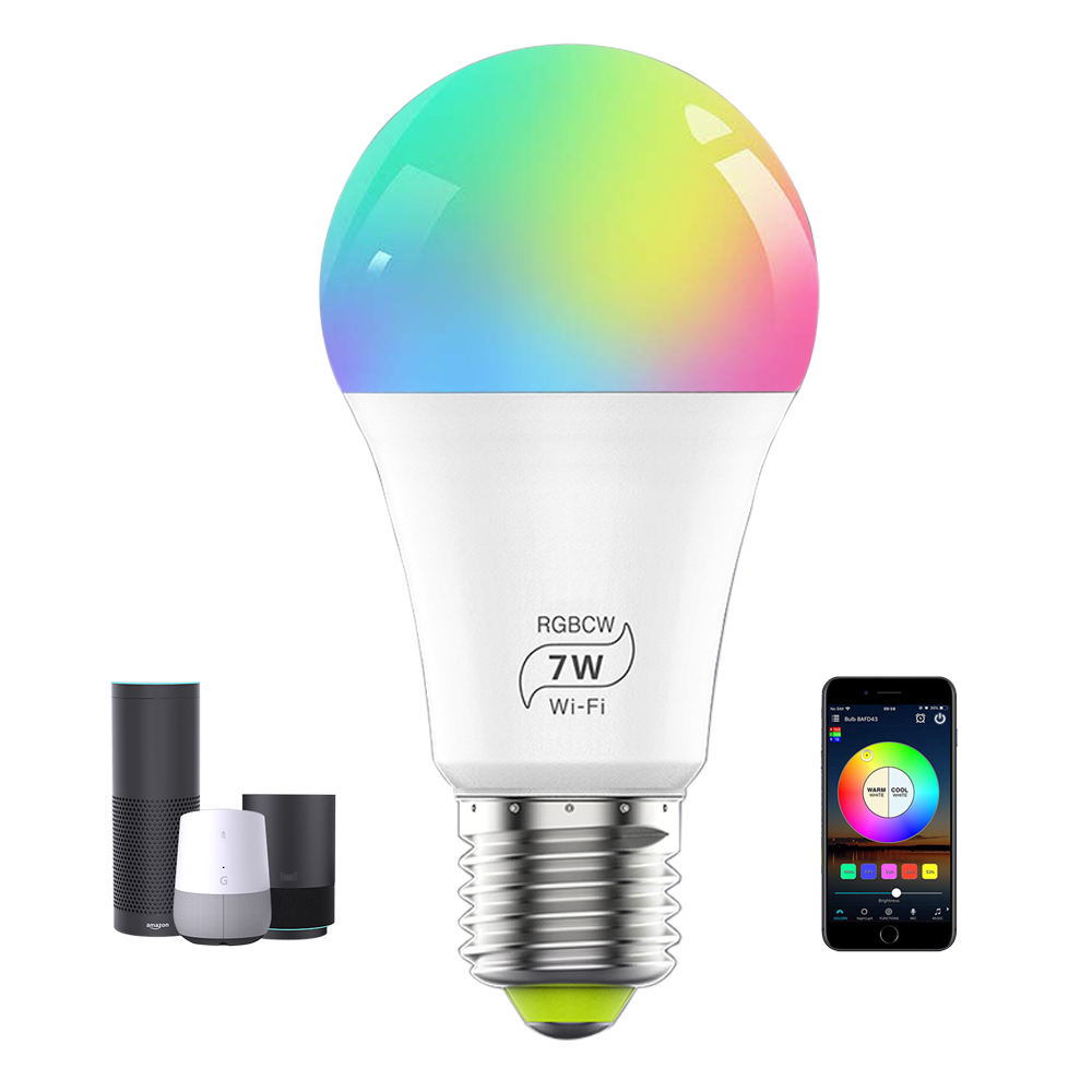 7W E27 LED Smart Light Bulb Multicolor Dimmable WiFi LED Light Bulb Compatible with Alexa Google Home