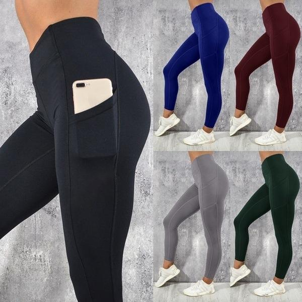 Dropshipping High Quality Fitness Sports Pants Workout Women Yoga Leggings With Pocket