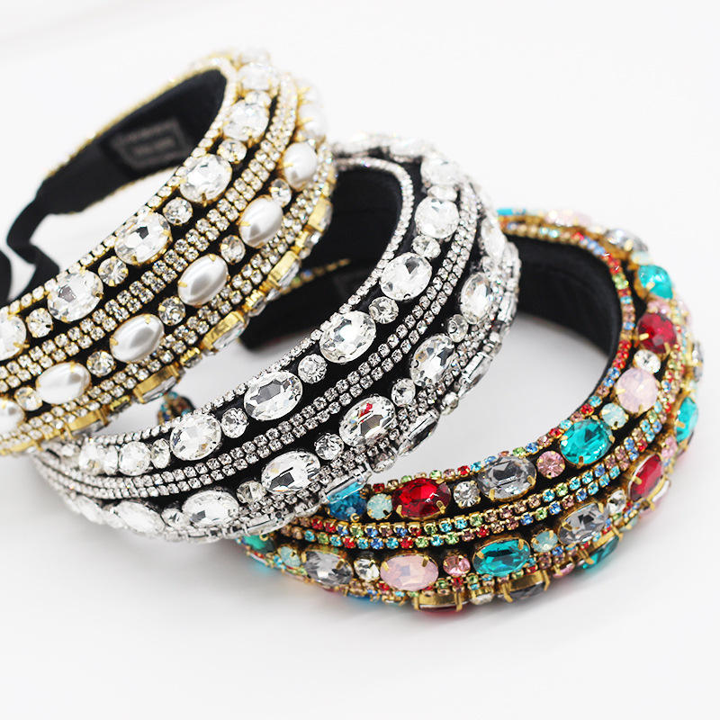 Wholesale fancy designer padded rhinestone girls hairband crystal baroque headbands women hair accessories