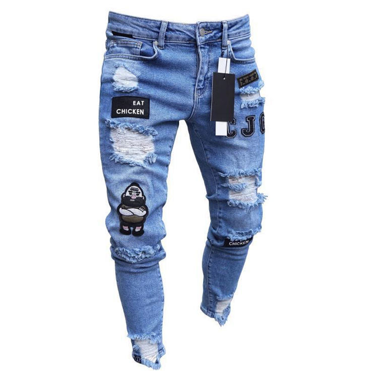 Hot Selling Factory Price Broken Destroy Mens Jeans Skinny Ripped Hole Men's Jeans