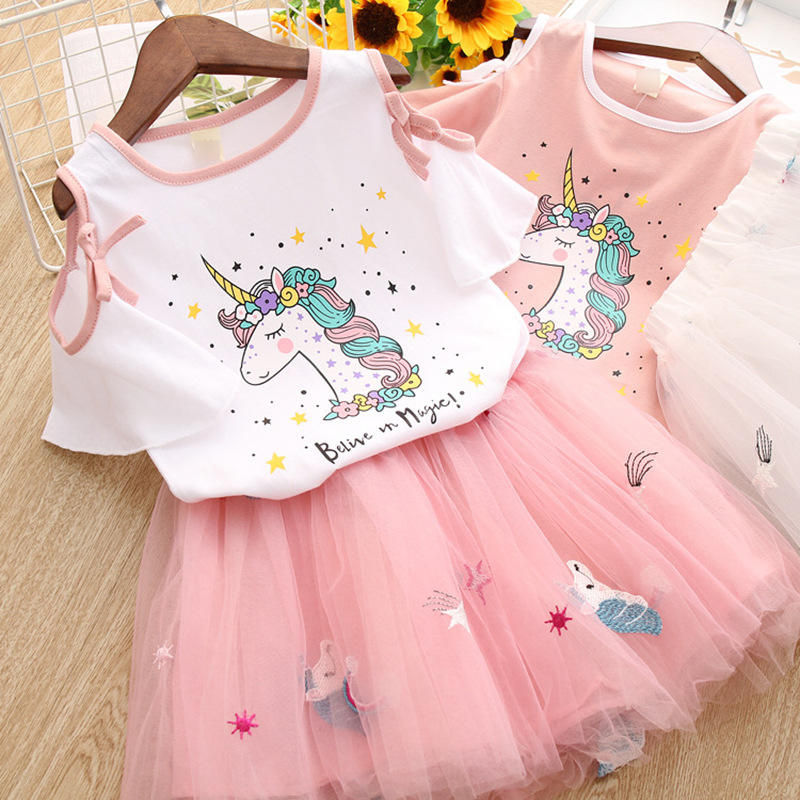 2019 latest pink design hot sale unicorn skirt fall wholesale girls boutique african kids clothing sets