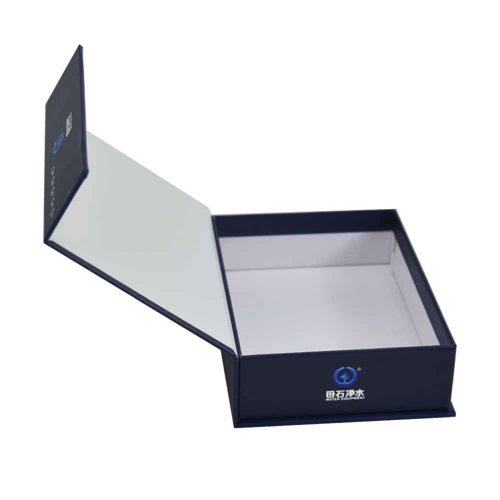 Custom Navy blue logo foiled cardboard paper magnet gift packaging box with magnetic closure lid for water equipment