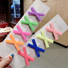 Fashion Korean new style fluorescent hairpins for girls Ins X shape hair accessory colourful hairpin