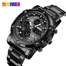SKMEI 1389 Stainless Steel Quartz Watch Men 50M Waterproof Dual Time Zone china Watch