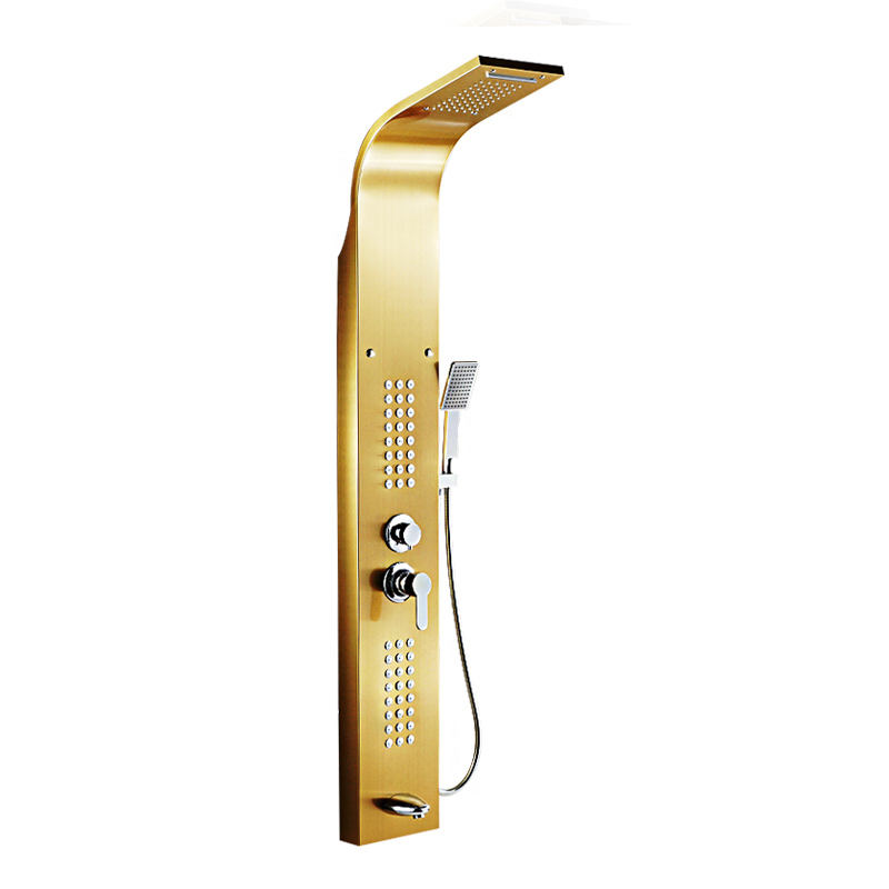 Golden Nickel Brushed Shower Panel Column towers 304 Stainless Steel Waterfall Spa Jets smart shower wall panel shower panel