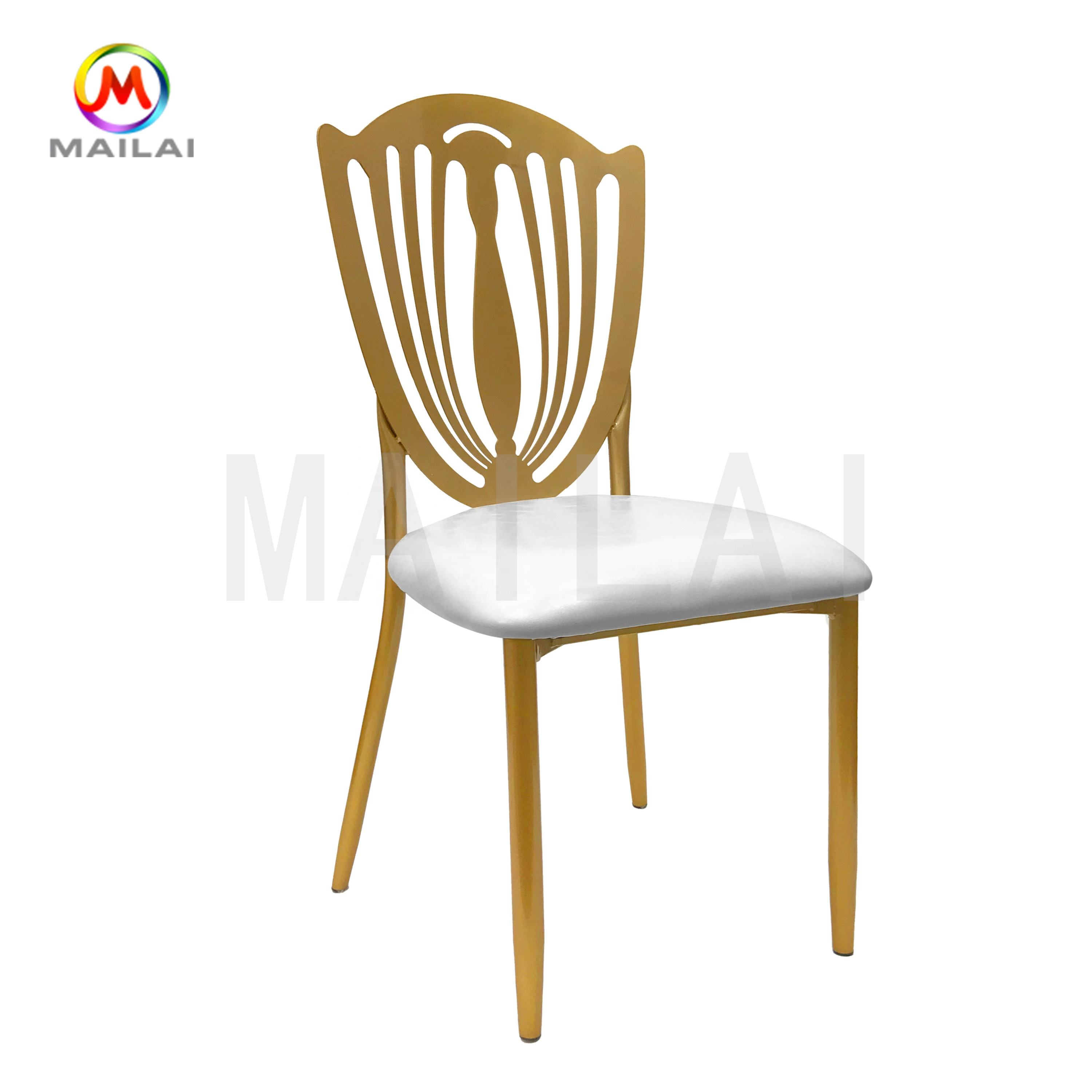Wholesale iron metal flower back chameleon chair for wedding reception