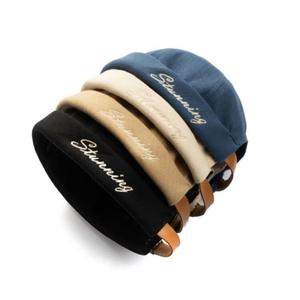 New Design Leather Strap Brimless Cap Hat For Men