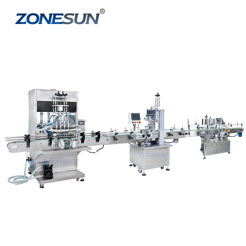 ZONESUN ZS-FAL180P6 Jar Honey Hand Sanitizer Liquid Automatic Water Bottle Filling Capping And Labeling machine