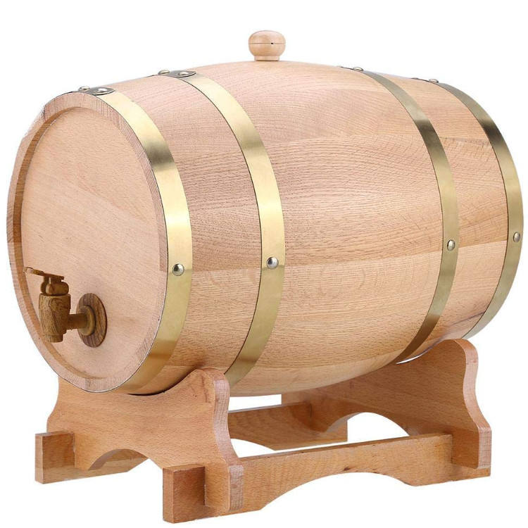 American oak barrel with steel hoops varnished exterior wooden wine barrel