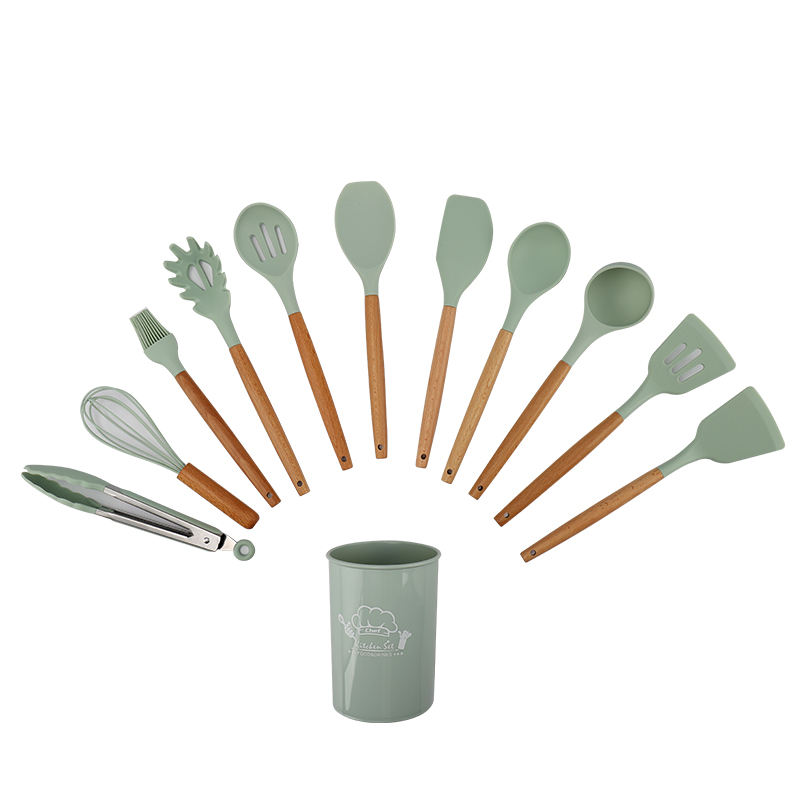 12 pcs Silicone Cooking Kitchen Utensil Set and Wooden Handle Spoon Spatula Turner Tongs Nonstick Cookware with Holder