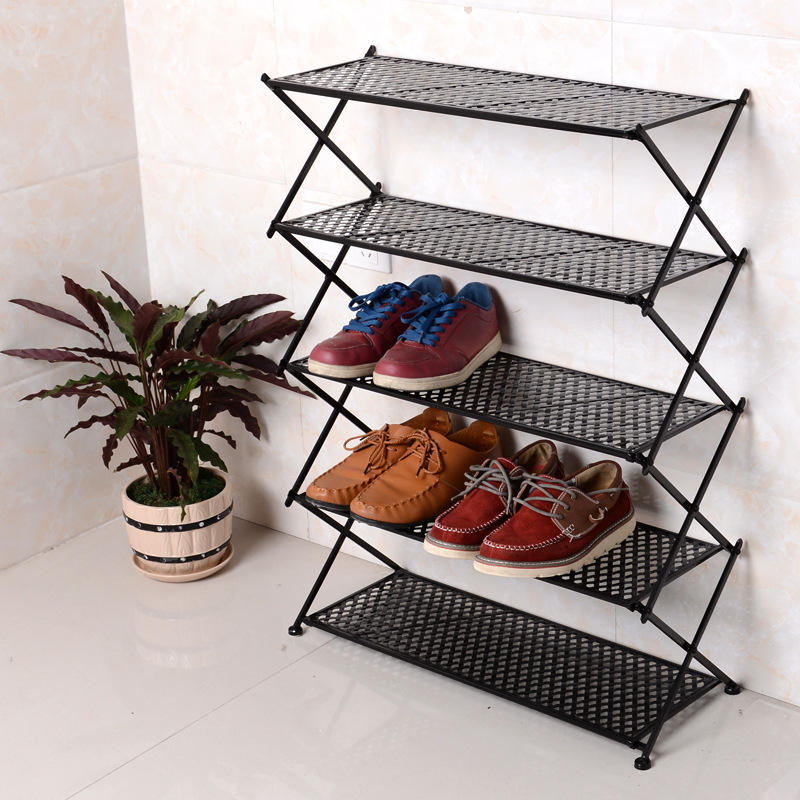 Modern Style Metal Iron Folding Shoe rack 4 5 6 tiers Shoe Rack Cabinet Living Room Furniture Shoe Display Rack