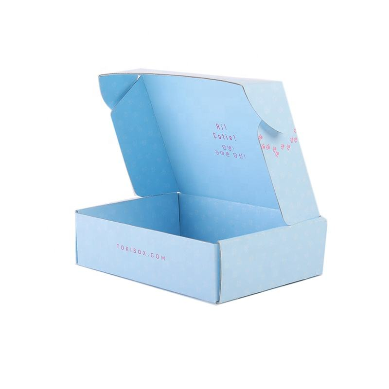 Customized Blue Mailer Box Corrugated Cardboard Packaging Storage Box